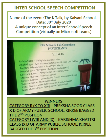 INTER SCHOOL SPEECH COMPETITION
